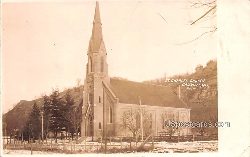 St Charles Church - Cassville, Wisconsin WI Postcard