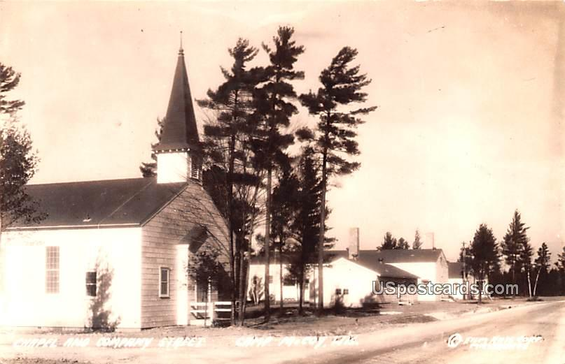 Chapel and Company Street - Camp McCoy, Wisconsin WI Postcard