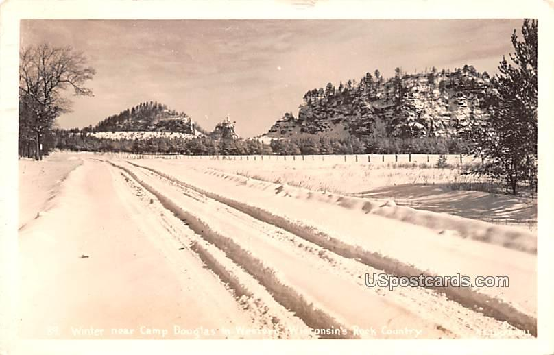 Winter near Camp Douglas - Wisconsin WI Postcard