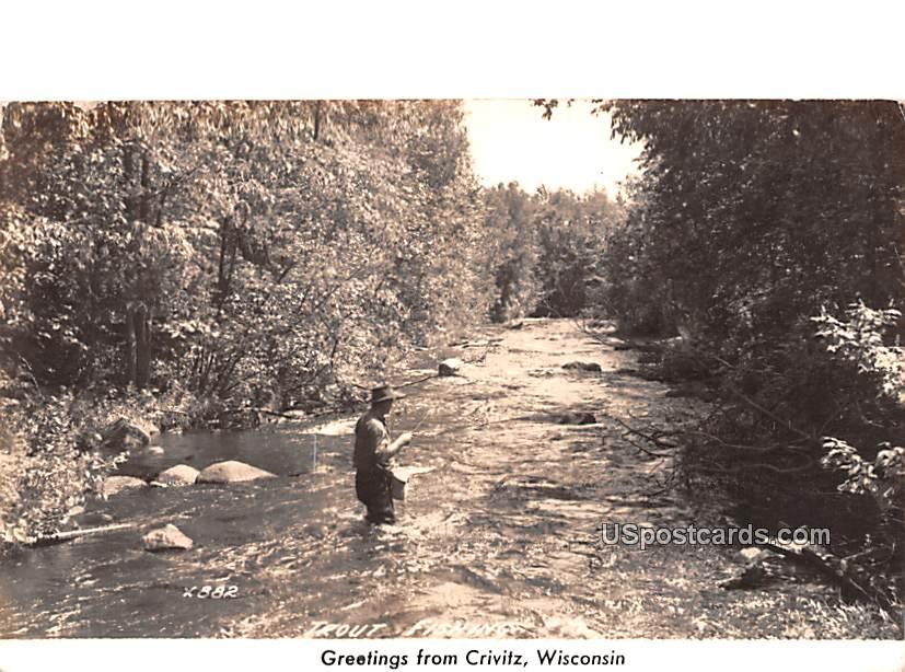 Trout Fishing - Crivitz, Wisconsin WI Postcard