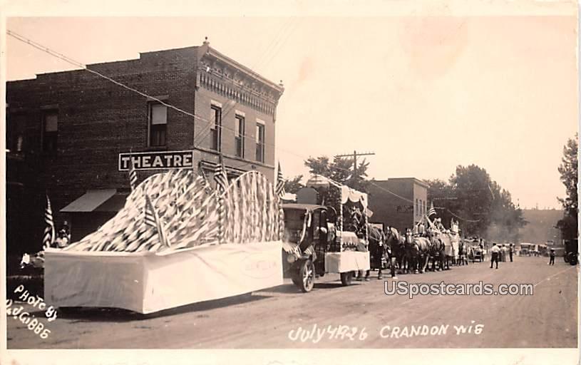 Parade July 4, 1926 - Crandon, Wisconsin WI Postcard