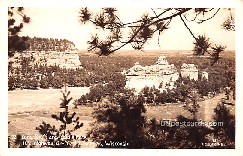 Long Bluff and Castle Rock - Camp Douglas, Wisconsin WI Postcard