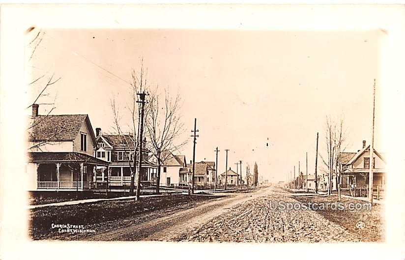Church Street - Colby, Wisconsin WI Postcard