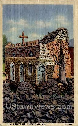 Holy Ghost Tree - Dickeyville, Wisconsin WI Postcard