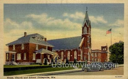Church And School - Dickeyville, Wisconsin WI Postcard