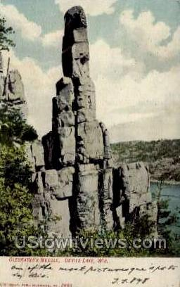 Cleopatra's Needle - Devil's Lake, Wisconsin WI Postcard