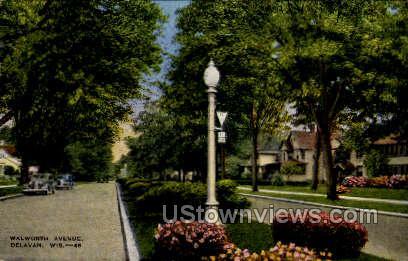 Walworth Avenue - Delavan, Wisconsin WI Postcard