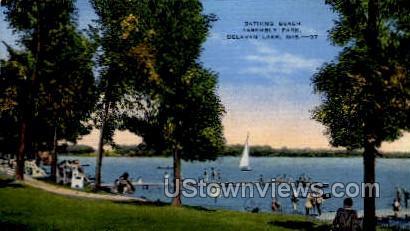 Bathing Lake Assembly Park - Delavan Lake, Wisconsin WI Postcard