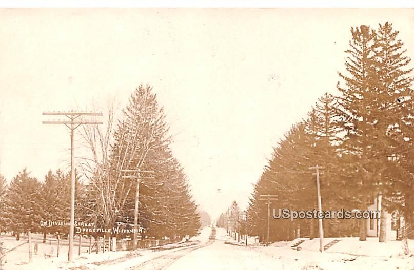 On Division Street - Dodgeville, Wisconsin WI Postcard