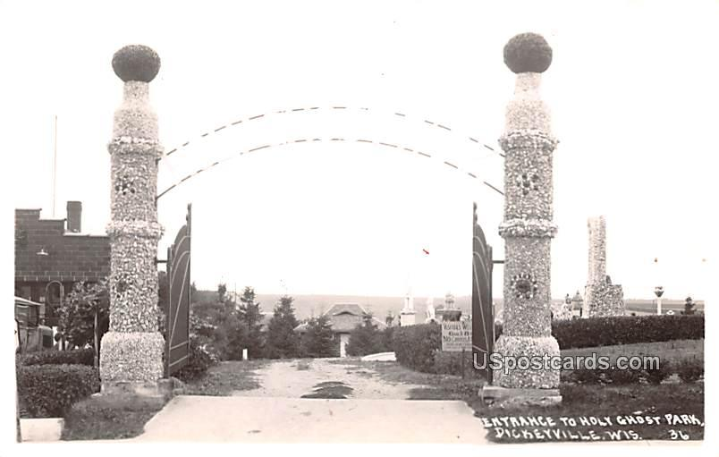 Entrance to Holy Ghost Park - Dickeyville, Wisconsin WI Postcard