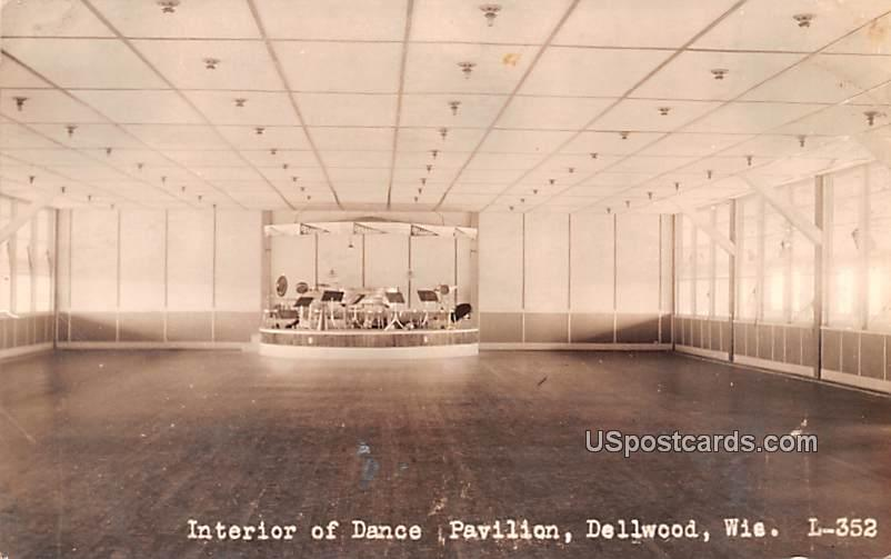 Interior of Dance Pavilion - Dellwood, Wisconsin WI Postcard