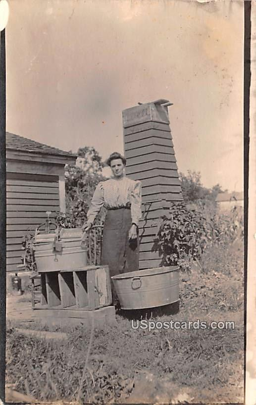 Woman at Work - Delton, Wisconsin WI Postcard