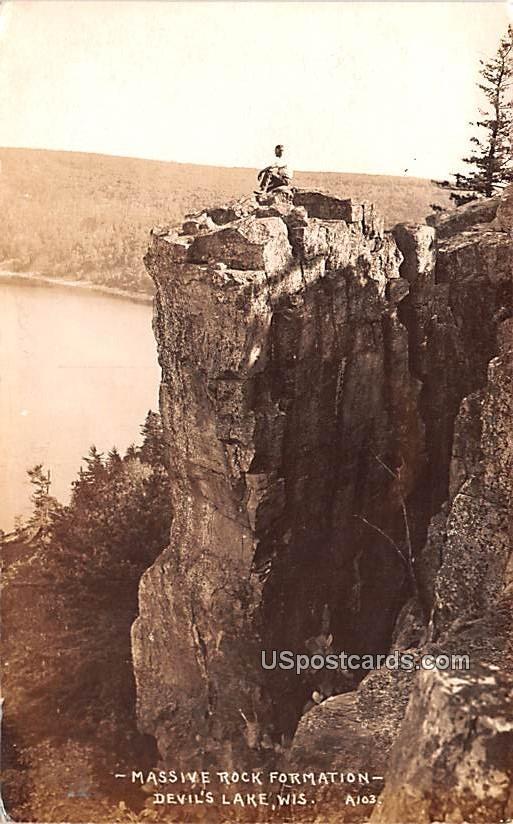 Massive Rock Formation - Devils Lake, Wisconsin WI Postcard
