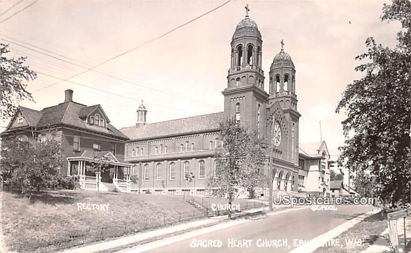 Sacred Heart Church - Eau Claire, Wisconsin WI Postcard