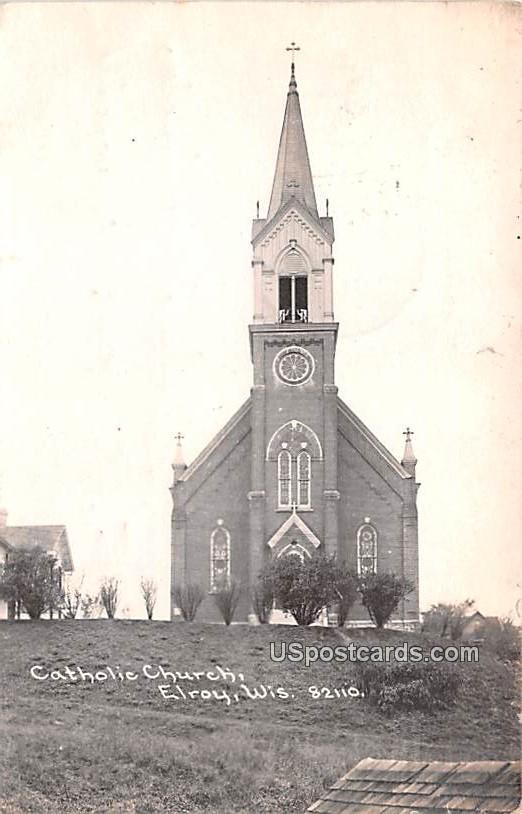 Catholic Church - Elroy, Wisconsin WI Postcard