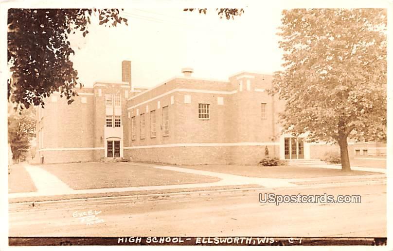 High School - Ellsworth, Wisconsin WI Postcard