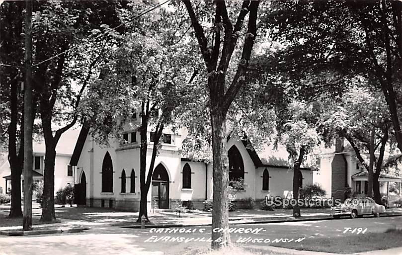 Catholic Church - Evansville, Wisconsin WI Postcard