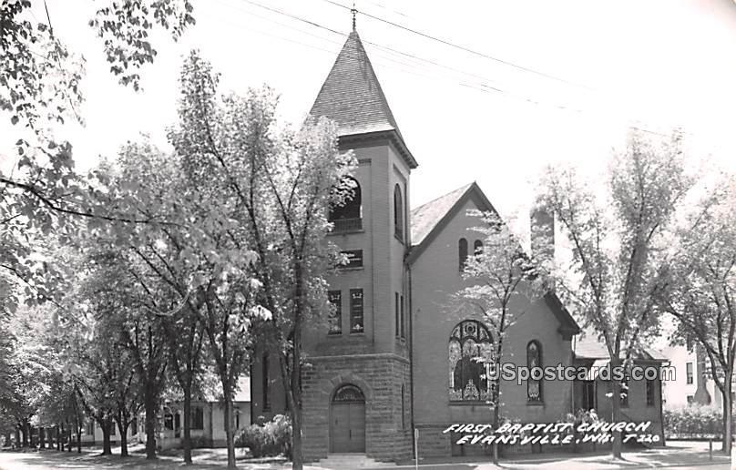 First Baptist Church - Evansville, Wisconsin WI Postcard