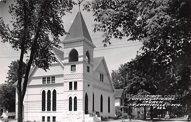 First Congregational Church - Evansville, Wisconsin WI Postcard