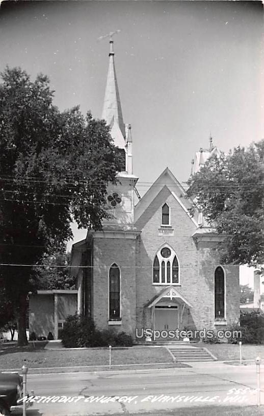 Methodist Church - Evansville, Wisconsin WI Postcard