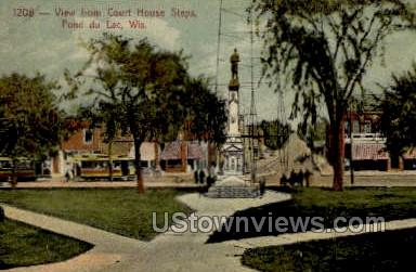 View From Courthouse - Fond du Lac, Wisconsin WI Postcard