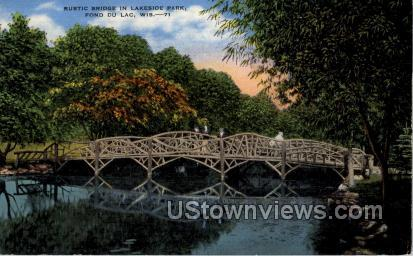 Rustic Bridge  - Fond du Lac, Wisconsin WI Postcard