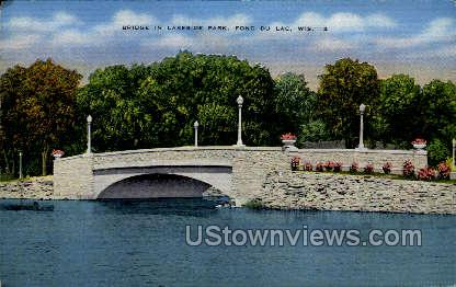 Bridge in Lakeside Park - Fond du Lac, Wisconsin WI Postcard