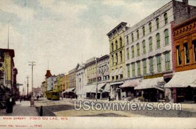 Main Street - Fond du Lac, Wisconsin WI Postcard