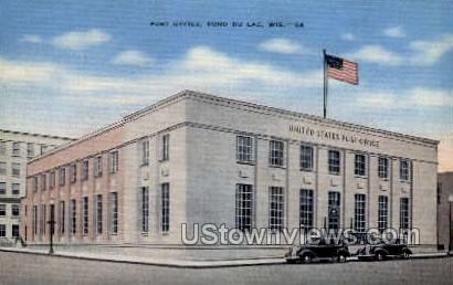 Post Office - Fond du Lac, Wisconsin WI Postcard