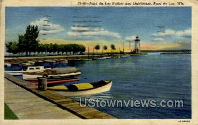Harbor and Lighthouse - Fond du Lac, Wisconsin WI Postcard