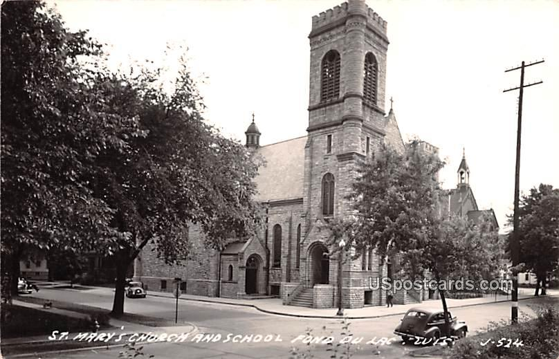 St Mary's Church and School - Fond du Lac, Wisconsin WI Postcard