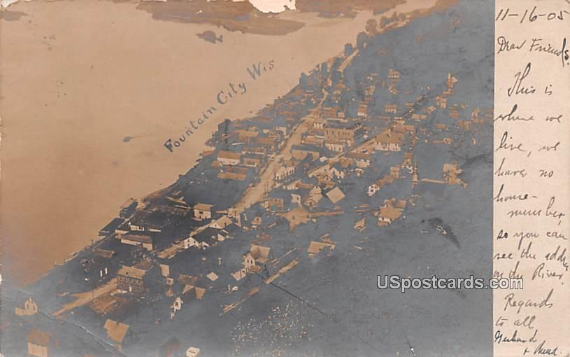 Birds Eye View - Fountain City, Wisconsin WI Postcard
