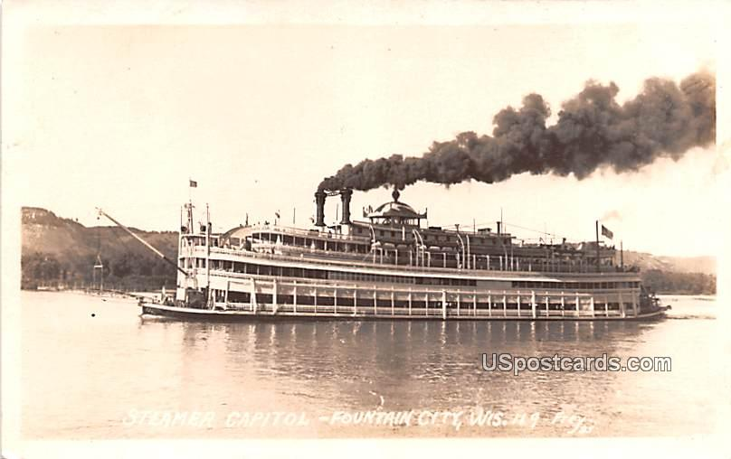 Steamer Capitol - Fountain City, Wisconsin WI Postcard
