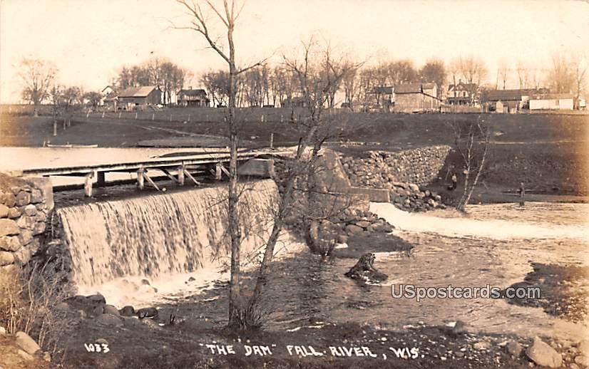The Dam - Fall River, Wisconsin WI Postcard