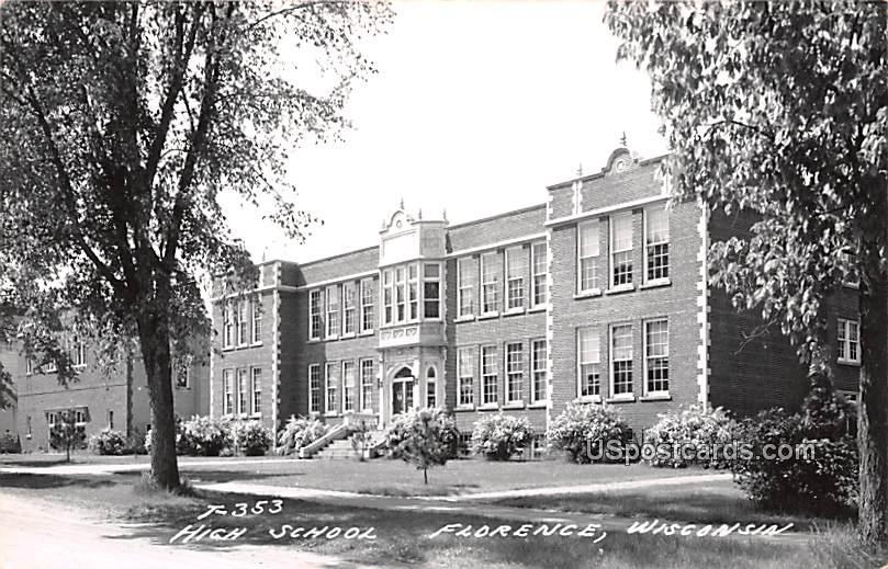 High School - Florence, Wisconsin WI Postcard