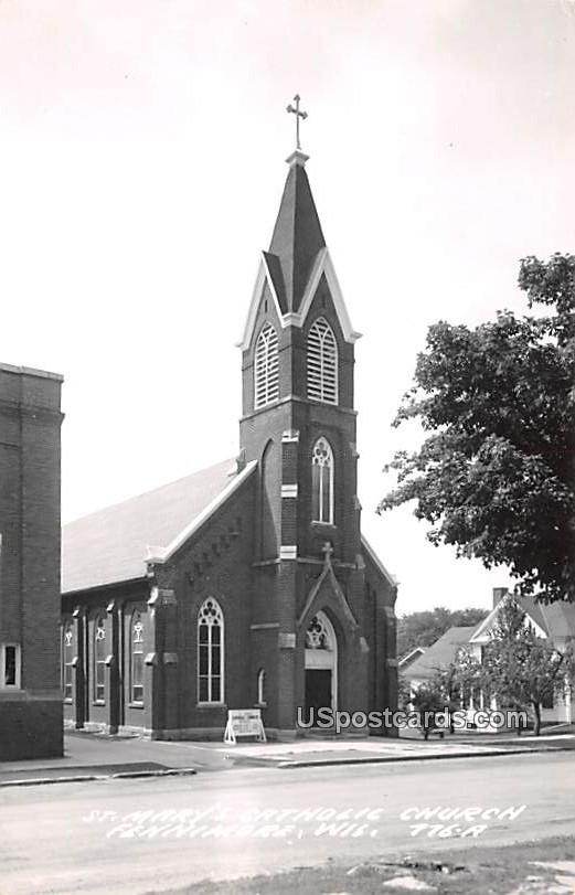 St Mary's Catholic Church - Fennimore, Wisconsin WI Postcard