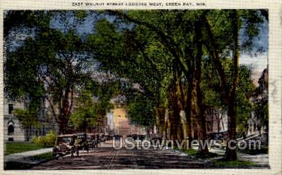 East Walnut Street - Green Bay, Wisconsin WI Postcard