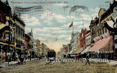 Washington Street - Green Bay, Wisconsin WI Postcard