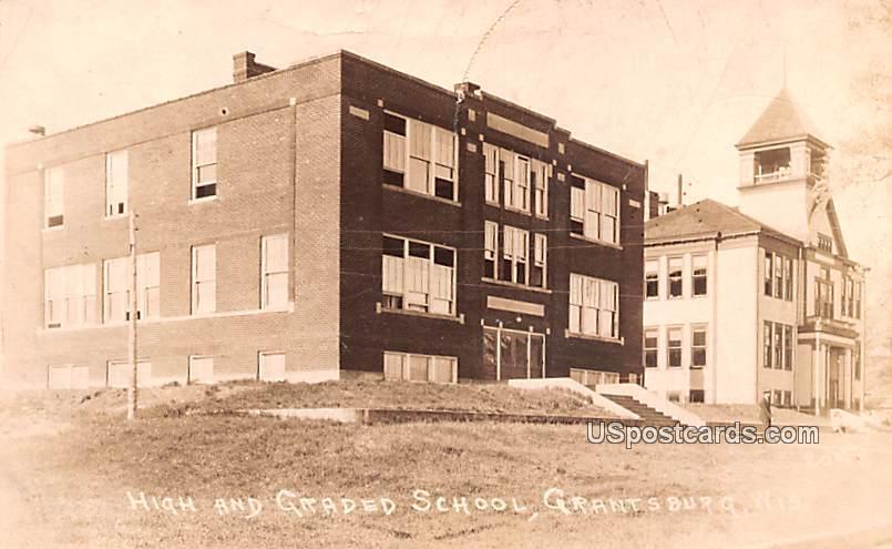 High and Graded School - Grantsburg, Wisconsin WI Postcard