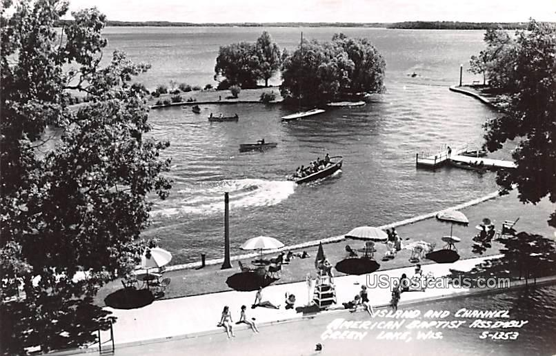 Island and Channel - Green Lake, Wisconsin WI Postcard