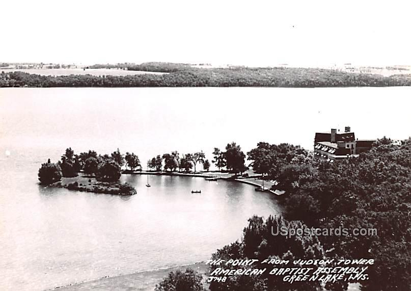 The Point from Judson Tower - Green Lake, Wisconsin WI Postcard
