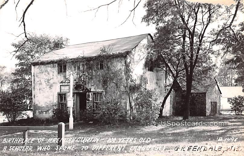 Birthplace of Jeremiah Curtin - Greendale, Wisconsin WI Postcard