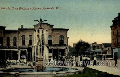 Corn Exchange Square - Janesville, Wisconsin WI Postcard