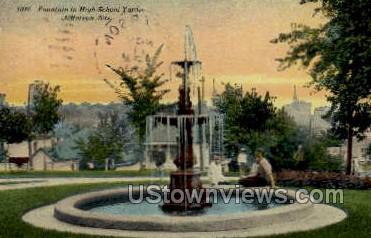 Fountain in High School Yard - Jefferson, Wisconsin WI Postcard