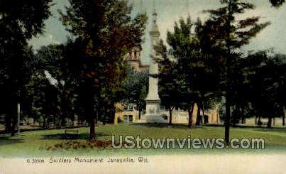 Soldier's Monument  - Janesville, Wisconsin WI Postcard