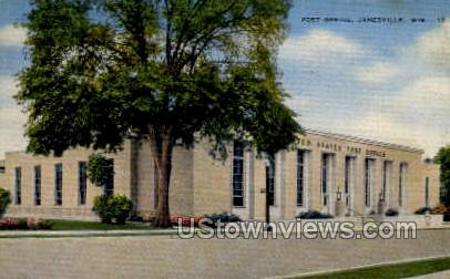 Post Office - Janesville, Wisconsin WI Postcard