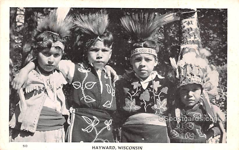 Native Children in Costume - Hayward, Wisconsin WI Postcard