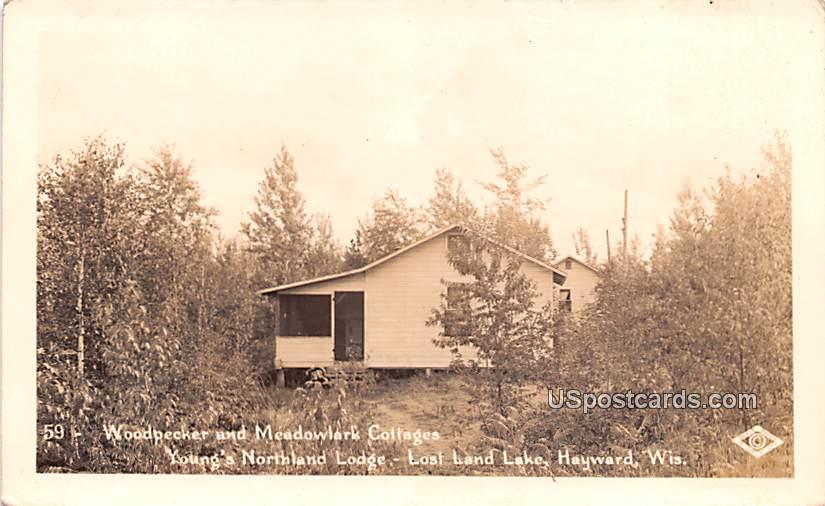 Woodpecker and Meadowlark Cottages - Hayward, Wisconsin WI Postcard