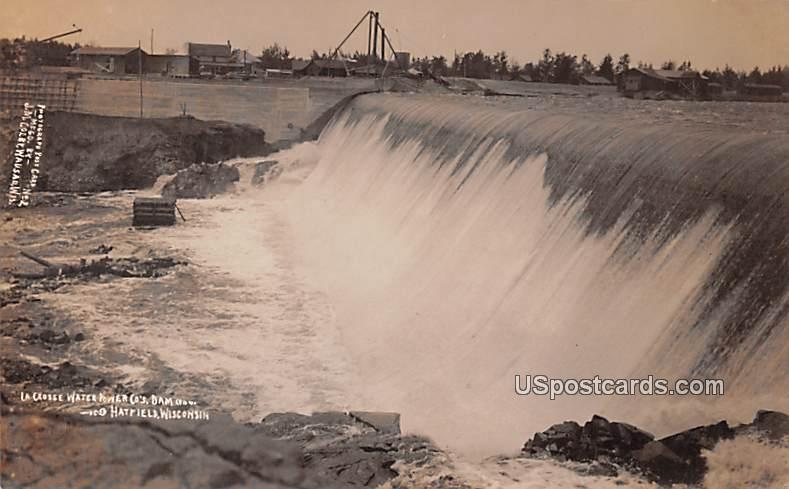 La Crosse Water Power Co's Dam - Hatfield, Wisconsin WI Postcard