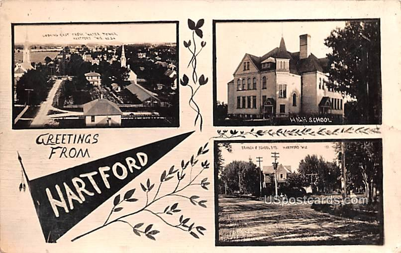 Greetings from - Hartford, Wisconsin WI Postcard